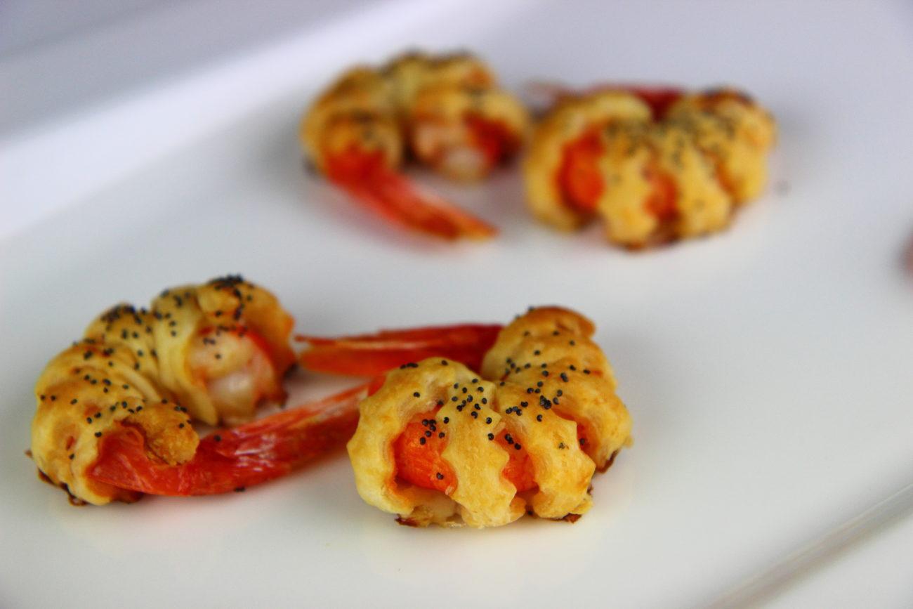 Gambero rosso di Mazara in pasta sfoglia croccante